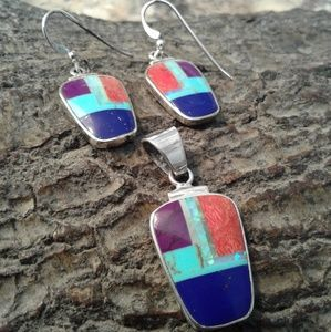 Jewelry - Sterling silver multi inlay pendant and earrings